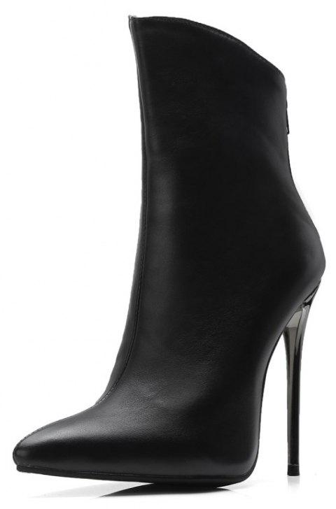 Metal Ultra Fine with Pointed End Zipper Ankle Boots - BLACK EU 36