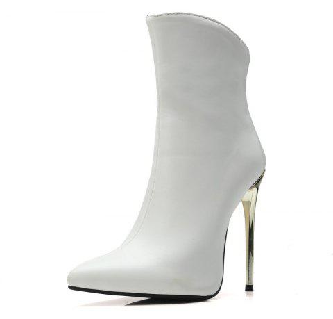 Metal Ultra Fine with Pointed End Zipper Ankle Boots - WHITE EU 41