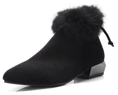 Shaped and Pointed Fur Stitching Bow Ankle Boots - BLACK EU 38