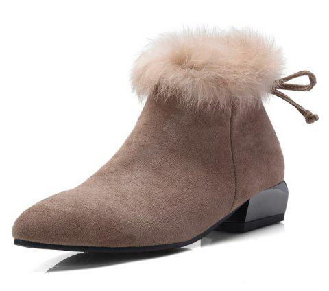 Shaped and Pointed Fur Stitching Bow Ankle Boots - DARK KHAKI EU 37