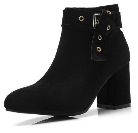 Thick High Heel Suede Rivet with Zipper Ankle Boots - BLACK EU 41