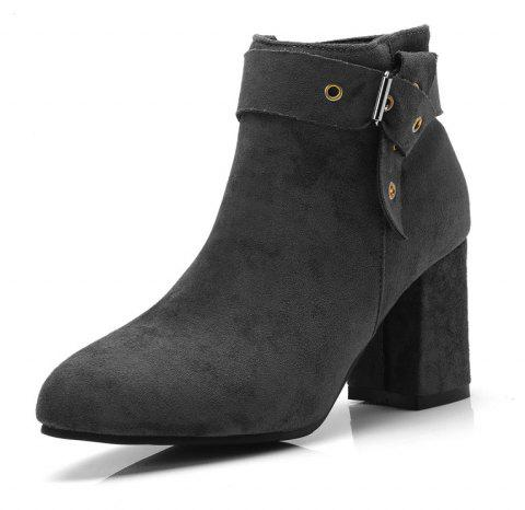 Thick High Heel Suede Rivet with Zipper Ankle Boots - GRAY EU 34