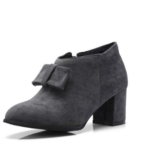Thick Suede Bow Zipper Ankle Boots - GRAY EU 34