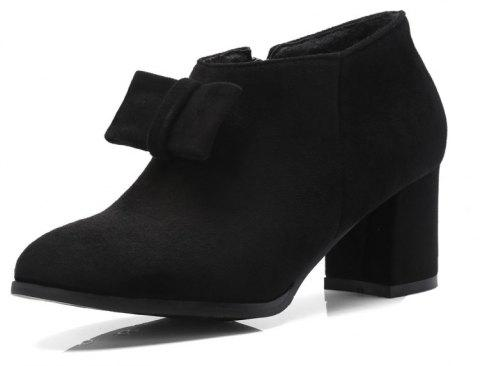Thick Suede Bow Zipper Ankle Boots - BLACK EU 38