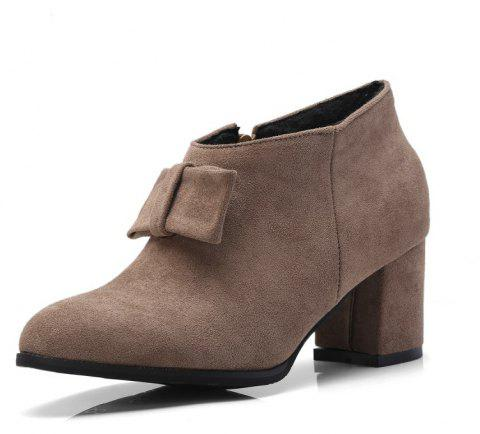 Thick Suede Bow Zipper Ankle Boots - DARK KHAKI EU 34