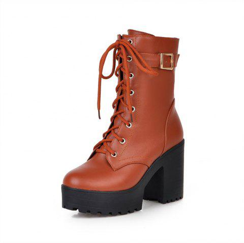 Roman Boots with Thick Soles High Heels - ORANGE GOLD EU 35