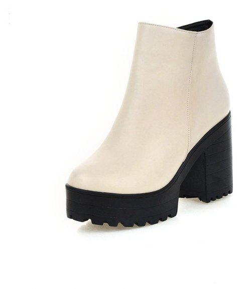 Chunky High Heel Thick Bottom Zipper Ankle Boots for Ladies - SILK WHITE EU 34