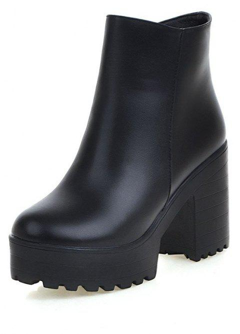 Chunky High Heel Thick Bottom Zipper Ankle Boots for Ladies - BLACK EU 34