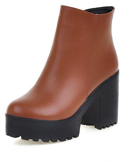 Chunky High Heel Thick Bottom Zipper Ankle Boots for Ladies - LIGHT BROWN EU 42