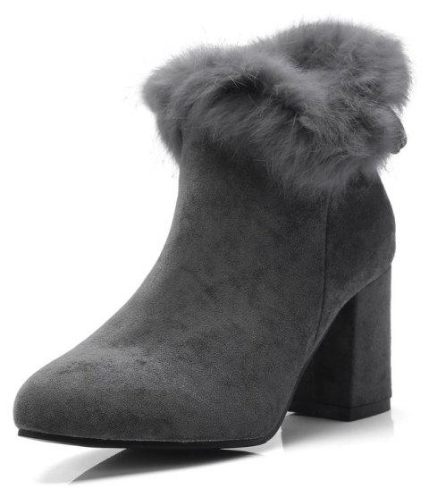 Thick High Heeled Fur Stitching Bow Zipper Thermal Ankle Boots - GRAY EU 42