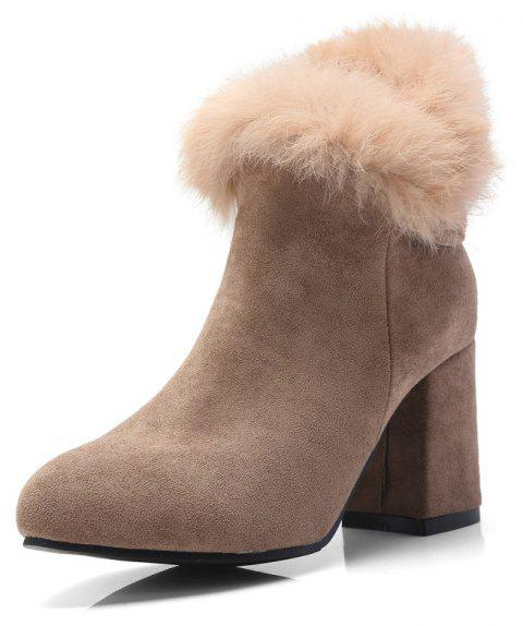 Thick High Heeled Fur Stitching Bow Zipper Thermal Ankle Boots