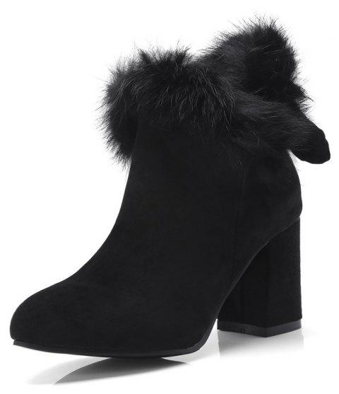 Thick High Heeled Fur Stitching Bow Zipper Thermal Ankle Boots - BLACK EU 43