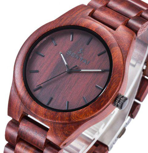 Men's Wooden Watch  Handmade Vintage Quartz Natural Wood Products - RED WINE