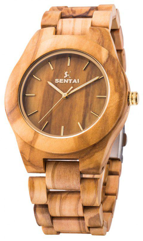 Men's Wooden Watch  Handmade Vintage Quartz Natural Wood Products - FALL LEAF BROWN