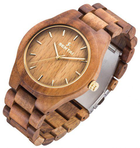 Men's Wooden Watch  Handmade Vintage Quartz Natural Wood Products - BURLYWOOD