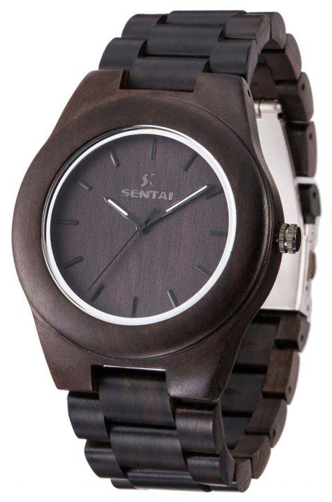 Men's Wooden Watch  Handmade Vintage Quartz Natural Wood Products - BLACK
