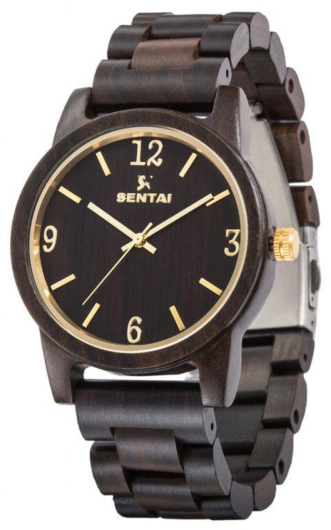 Men's and Women's Wooden Watches Sentai Handmade Vintage Quartz Natural Gift Set - BLACK