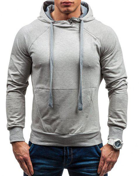 Men's Classic Tiger Embroidery Hooded Casual Hooded Sleeve Sweatshirt - LIGHT GRAY L