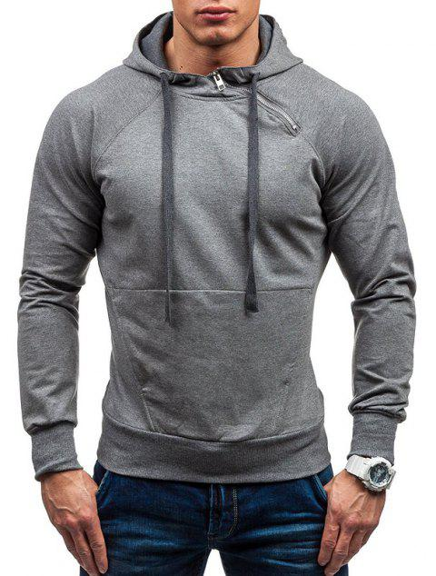 Men's Classic Tiger Embroidery Hooded Casual Hooded Sleeve Sweatshirt - DARK GRAY M