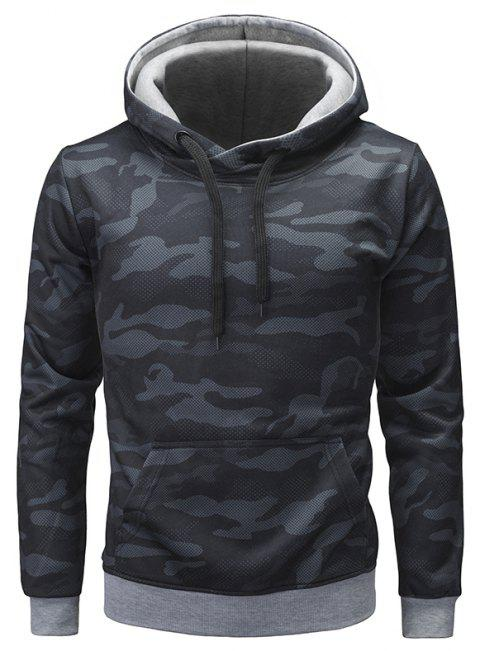 Men's Fashion Camouflage Slim Long Sleeve Large Pocket Hoodie - BLACK M