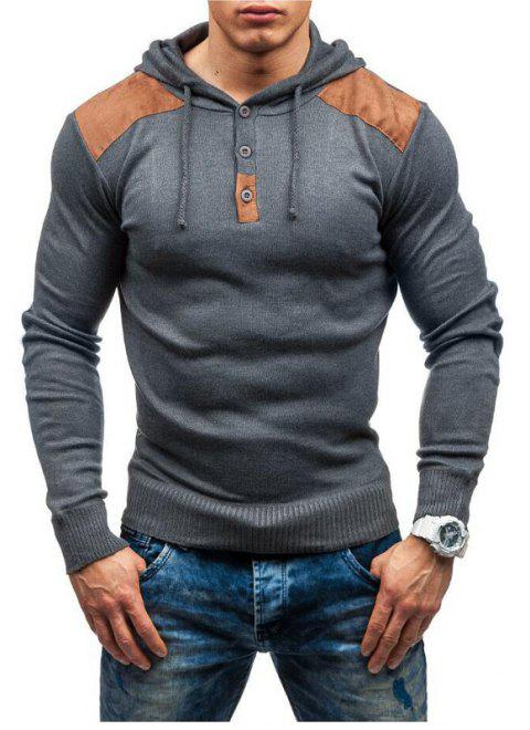 Men's solid color hooded pullover sweater double shoulder suede stitching - LIGHT GRAY L