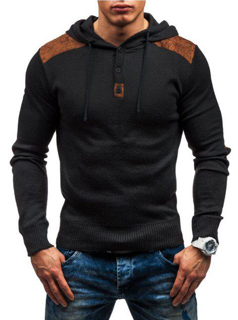 Men's solid color hooded pullover sweater double shoulder suede stitching - BLACK XL