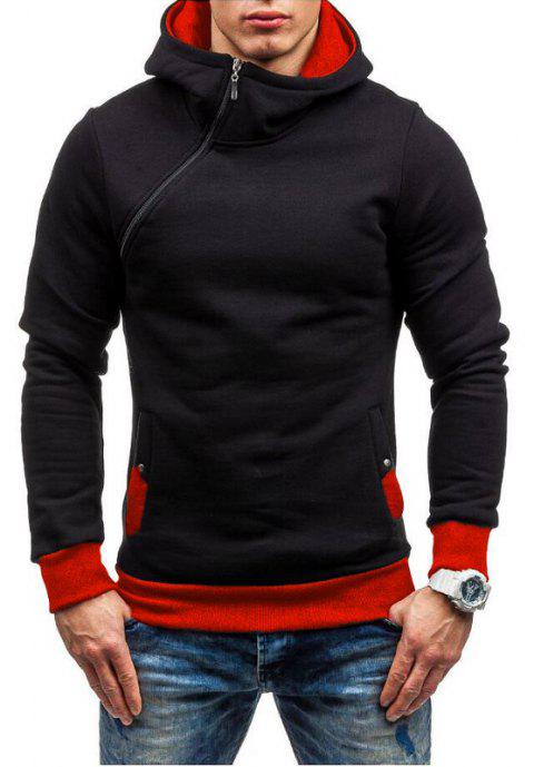 Men Fashion Diagonal Zipper Casual Hooded Long Sleeve Turtleneck Sweater - RED L