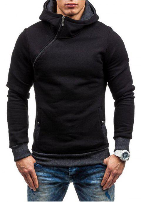 Men Fashion Diagonal Zipper Casual Hooded Long Sleeve Turtleneck Sweater - DARK GRAY 2XL