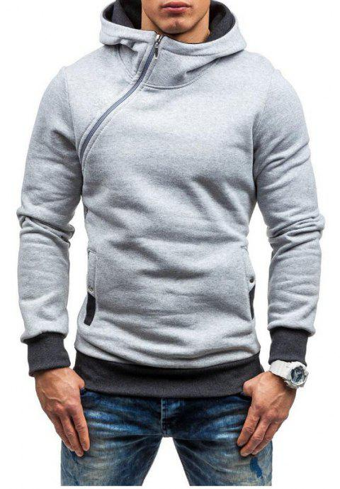Men Fashion Diagonal Zipper Casual Hooded Long Sleeve Turtleneck Sweater - LIGHT GRAY XL