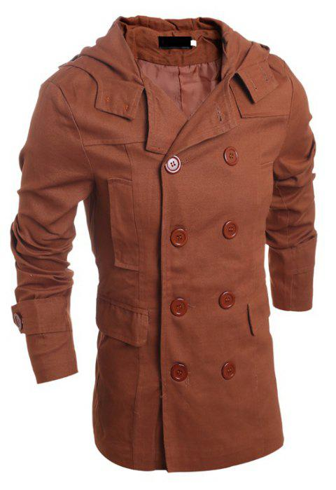 Men's Fashion Double Breasted Casual Hooded Luxury Jacket - LIGHT BROWN 2XL