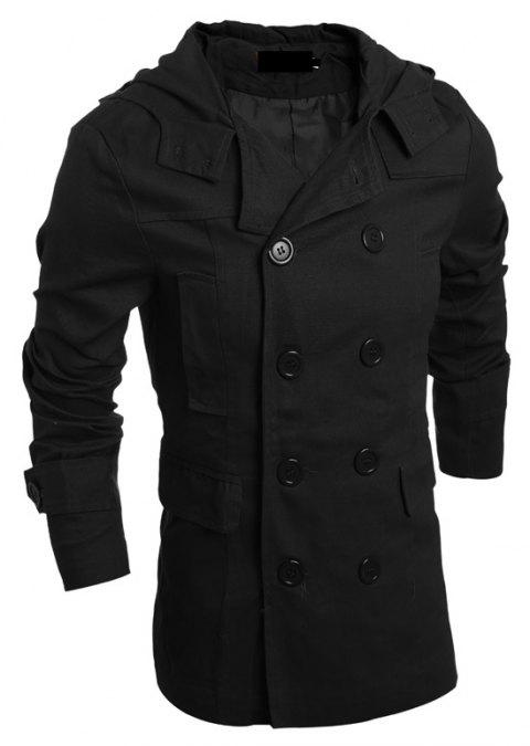 Men's Fashion Double Breasted Casual Hooded Luxury Jacket - BLACK L