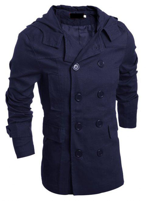 Men's Fashion Double Breasted Casual Hooded Luxury Jacket - CADETBLUE M