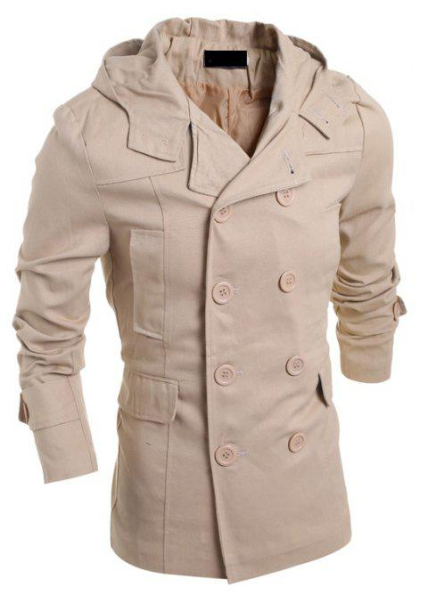 Men's Fashion Double Breasted Casual Hooded Luxury Jacket - BEIGE L