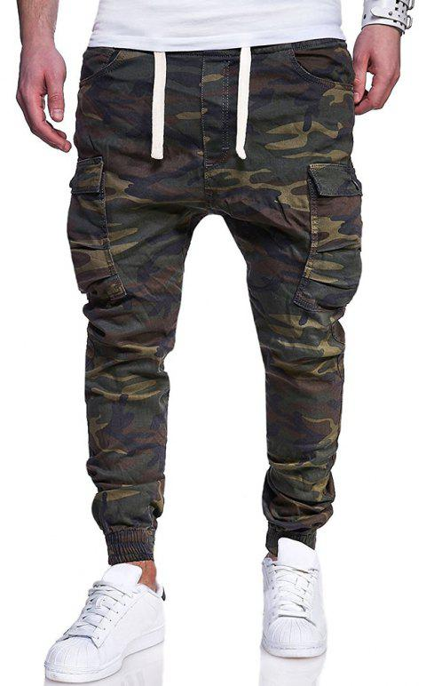 Men's Big Code Fashion Camouflage Printed  Belt Casual Beam Pants - ARMY GREEN L
