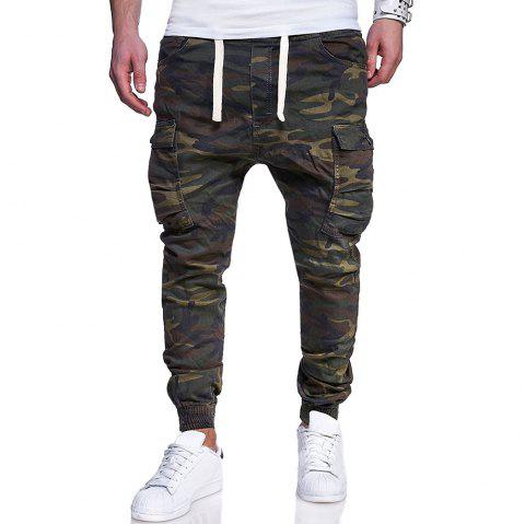 Men's Big Code Fashion Camouflage Printed  Belt Casual Beam Pants - ARMY GREEN 2XL