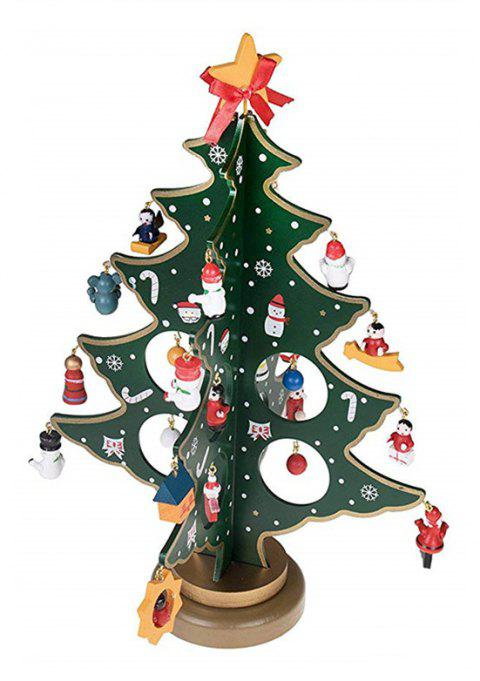 Ornaments Christmas Wooden Painted Dolls with Small Tree Table Pendulum - GREENISH BLUE