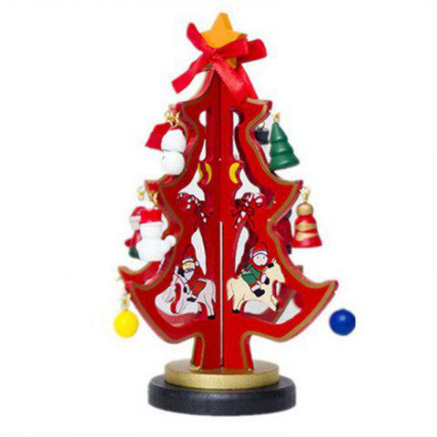 Ornaments Christmas Wooden Painted Dolls with Small Tree Table Pendulum - RED