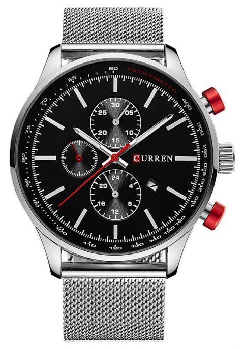 CURREN Men's Sports and Leisure Business  Three-Eye Watch - SILVER