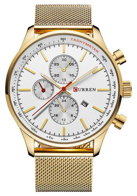 CURREN Men's Sports and Leisure Business  Three-Eye Watch - GOLD