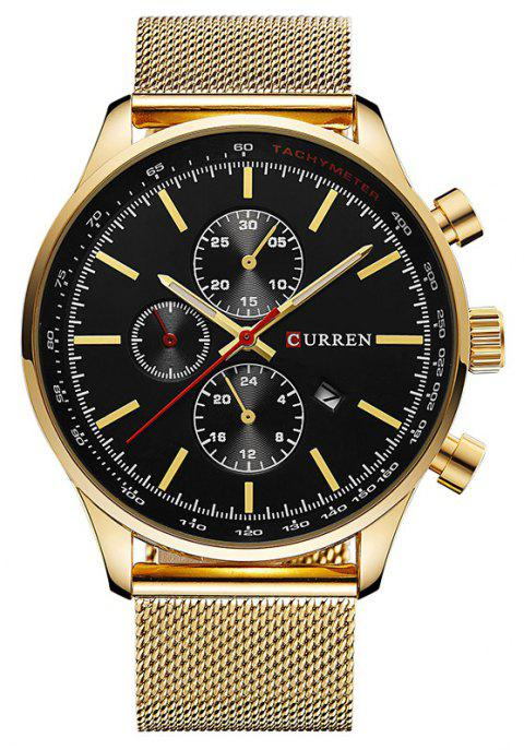 CURREN Men's Sports and Leisure Business  Three-Eye Watch - YELLOW