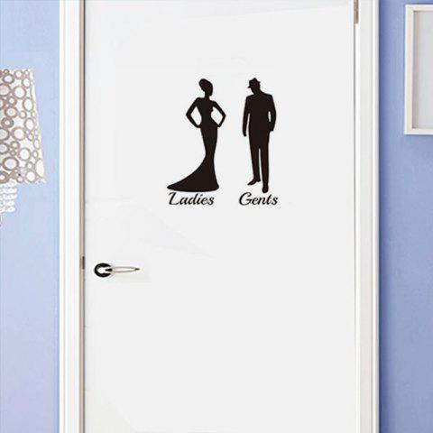 Toilet Decoration Removable PVC Wall Sticker - BLACK