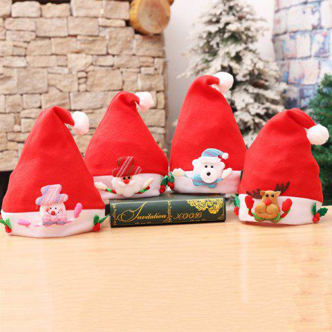 4PCS Kids' Holiday Inspirational Textile Hats for Christmas Party - multicolor