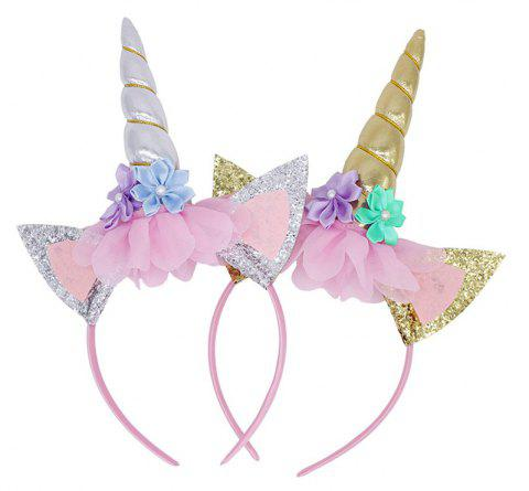 Rainbow Kids Chiffon Headband Glitter Hairband Easter - NEBULA 1 PAIR