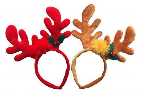 Christmas Hair Red Antler Band Buckle Gifts Party Decoration Supplies - multicolor 1 PAIR