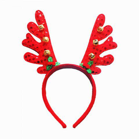 Christmas Plush Hat Antlers Fancy Dress Costume Accessory - ROSSO RED 2PCS