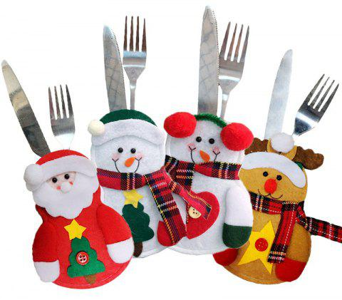 Christmas Decorations For Home Cutlery Pocket Fork Knife Tableware Pouch - multicolor 2 PAIRS