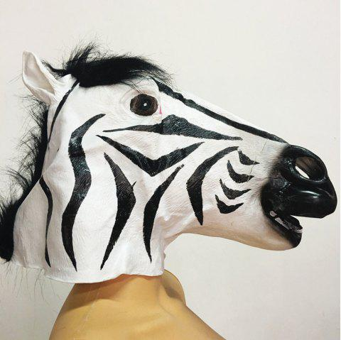 Full Face Halloween Horse Mask Head Latex Brown Costume Theater Prop Party - BLACK 43*30CM