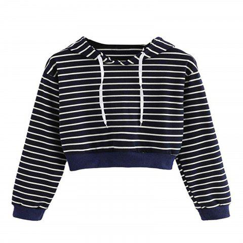 Women'S Striped Crop Top Sweatshirt Long Sleeve Pullover Hoodie - CADETBLUE XL