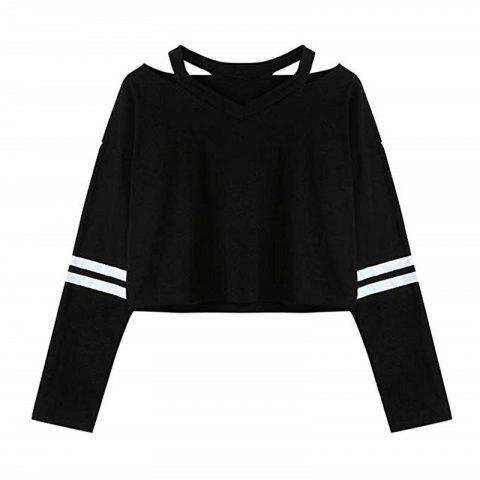Women Teen Girls Tops Hoodie Sweatshirt Striped Crop Tops Long Sleeve V Neck Cau - BLACK S