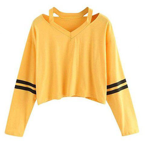 Women Teen Girls Tops Hoodie Sweatshirt Striped Crop Tops Long Sleeve V Neck Cau - YELLOW M